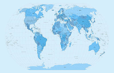 Panoramic Digital Art - World Map Blues by Michael Tompsett