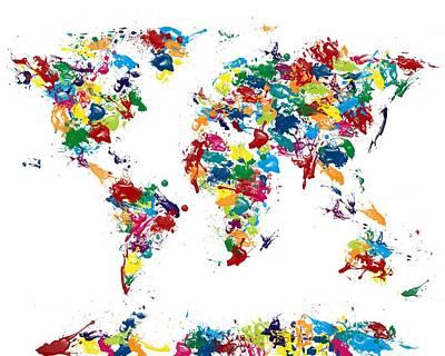 World Map Glossy Paint 16 X 20 Print by Michael Tompsett