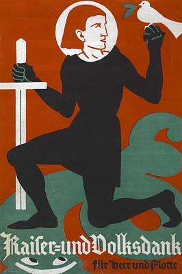World War I, Poster Shows A Kneeling Print by Everett