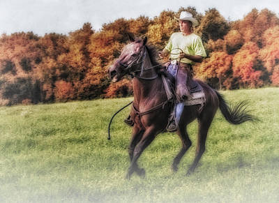 Foliage Photograph - Wrangler And Horse by Susan Candelario