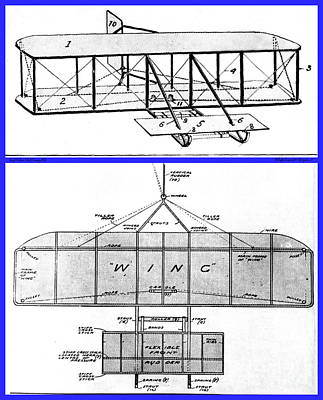 Technical Photograph - Wright Brothers Patent Drawings 1908 by Padre Art
