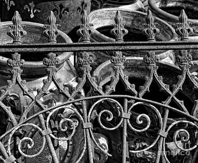 Wrought Iron Gate And Pots Black And White Print by Kathleen K Parker