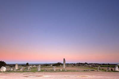 Alqueva Photograph - Xarez Cromlech Uring The Sunset by Andre Goncalves
