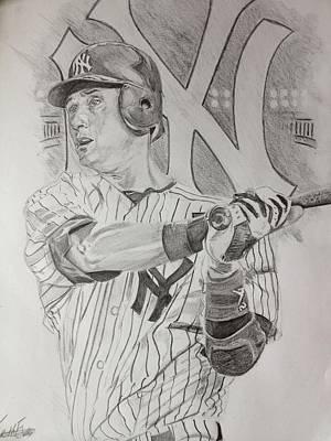 Derek Jeter Drawing - Yankee Pride Derek Jeter  by Keith Evans