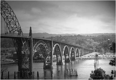 Balck Art Photograph - Yaquina Bay Bridge Oregon B And W by Joyce Dickens