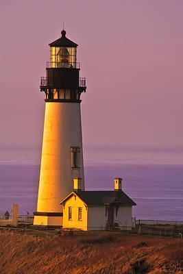 Yaquina Head Lighthouse Photograph - Yaquina Head Lighthouse At Sunset by Alvin Kroon
