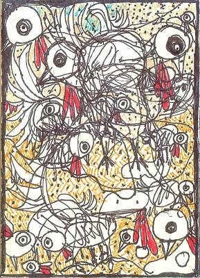 Abstract Expressionism Drawing - Yard Birds by Robert Wolverton Jr