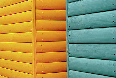Protection Photograph - Yellow & Blue Beach Huts Abstract by Kevin Button