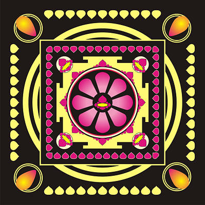 Balck Art Digital Art - Yellow And Pink Mandala by Steeve Dubois