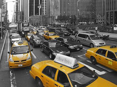 Urban Canyon Digital Art - Yellow Cabs Ny by Melanie Viola