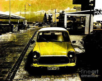 Blak Digital Art - Yellow Car by Alexander Bakumenko