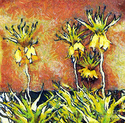 Gold Lame Painting - Yellow Flowers by Odon Czintos