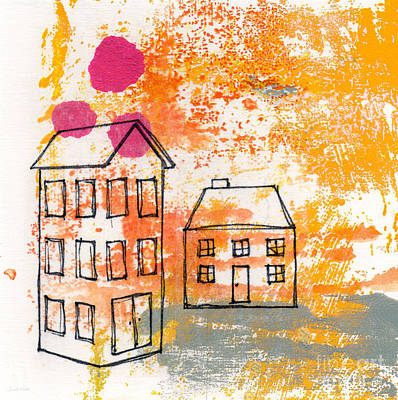 Doodle Painting - Yellow House by Linda Woods