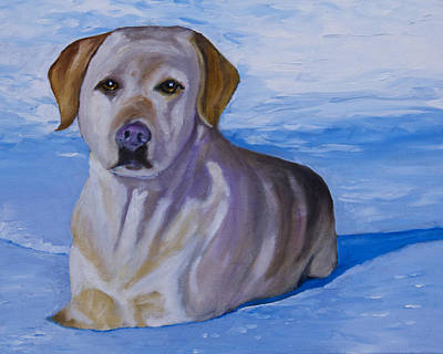 Dog Painting - Yellow Lab In Snow by Roger Wedegis