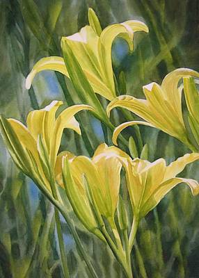 Spring Bulbs Painting - Yellow Lilies by Sharon Freeman
