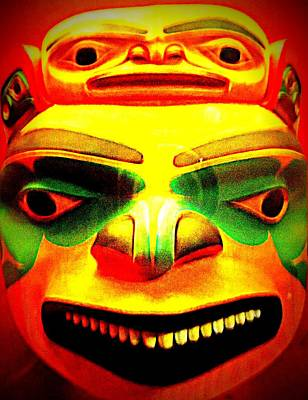 Woodcarving Photograph - Yellow Mask by Randall Weidner