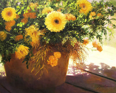 Mums Painting - Yellow Mums by Linda Jacobus