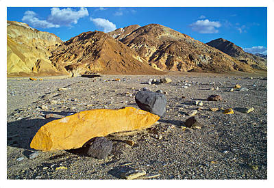 Yellow Rock At Death Valley Print by Laurence Matson