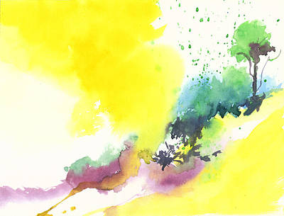 Christmas Holiday Scenery Painting - Yellow Sky 2 by Anil Nene