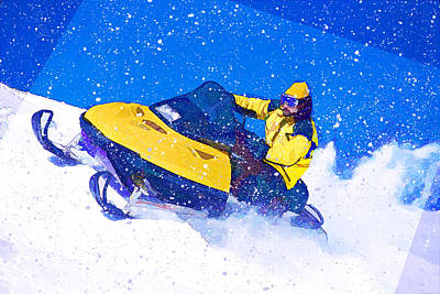 Yellow Snowmobile In Blizzard Print by Elaine Plesser