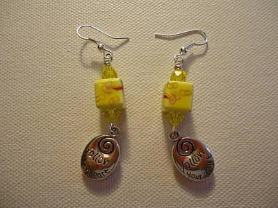 Wire Photograph - Yellow Swirl Follow Your Heart Earrings by Jenna Green