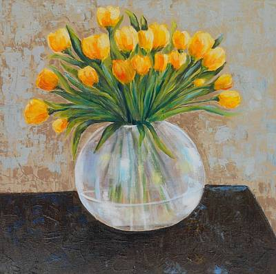 Maryann Painting - Yellow Tulips by MaryAnn Ceballos