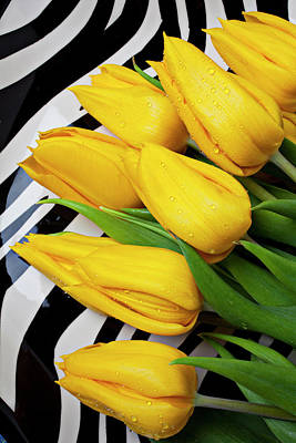 Yellow Tulips On Striped Plate Print by Garry Gay