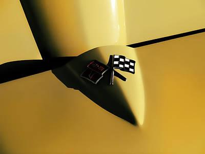 Yellow Vette Badge Print by Douglas Pittman