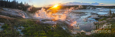 Yellowstone Norris Geyser Basin At Sunset Print by Gregory Dyer