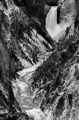 Grand Canyon Photograph - Yellowstone Waterfalls In Black And White by Sebastian Musial