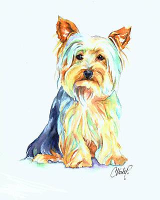 Yorkshire Terrier Art Painting - Yorkie Dog Portrait by Christy  Freeman