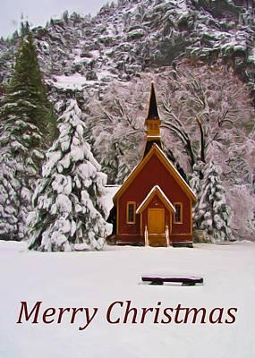 Winter Trees Photograph - Yosemite Chapel - Christmas Card by Heidi Smith