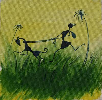 Warli Painting - You En I In This Beautiful World by Chintaman Rudra