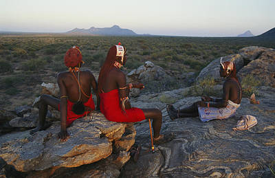 Young Ariaal Warriors Rest On A Rock Print by Maria Stenzel