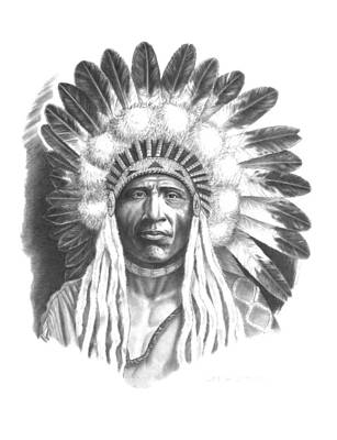 Pony Skin Drawing - Young Blackfoot by Lee Updike