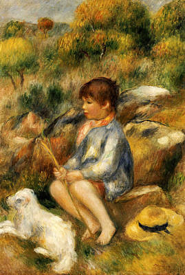 Young Boy By A Brook Print by Pierre Auguste Renoir