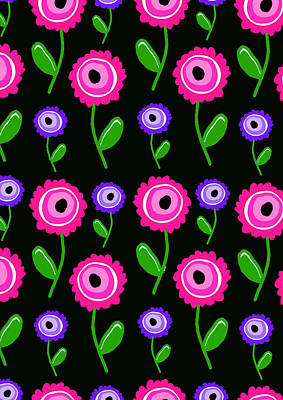 Loud Digital Art - Young Florals  by Louisa Knight