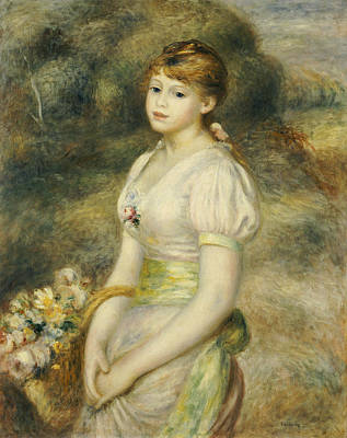 Young Girl With A Basket Of Flowers Print by Pierre Auguste Renoir