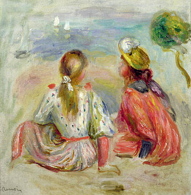 Young Girls On The Beach Print by Pierre Auguste Renoir