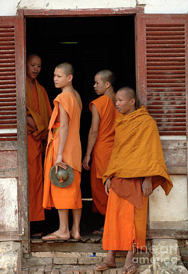 Young Monks Laos 2 Print by Bob Christopher