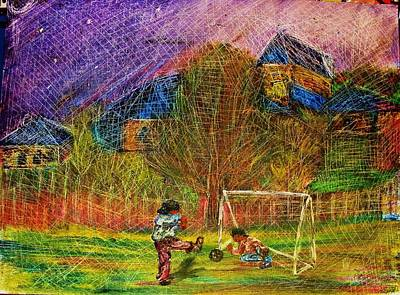 Painting - Young Soccer Players by Jeanne Mytareva