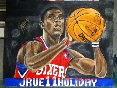 Sixers Painting - Young Star by Stephen  Hatala