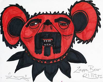 Abstract Expressionism Drawing - Zappa Bear by Robert Wolverton Jr