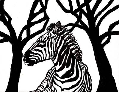 Zebra In Painting - Zebra In Black And White by Connie Valasco