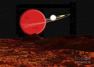 Companion Digital Art - Zeta Piscium Is A Binary Star System by Ron Miller