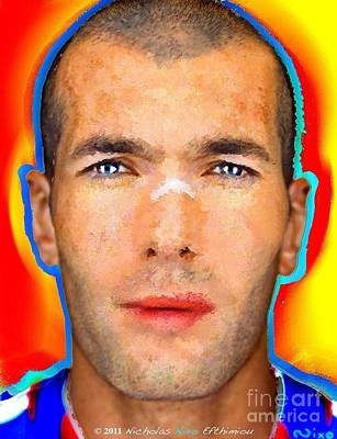 Pele Mixed Media - Zinidane Zidane Nicholas Nixo by Nicholas Nixo