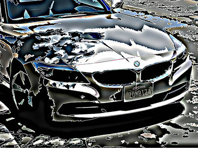 Zombie Bmw Z4 Print by Samuel Sheats