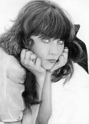 Nats Drawing - Zooey Deschanel by Nat Morley