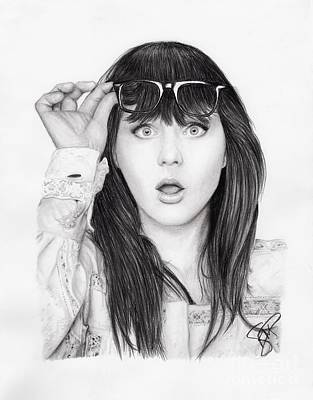 Zooey Deschanel Drawing - Zooey Deschanel by Rosalinda Markle