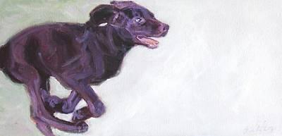 Chocolate Labrador Retriever Painting - Zooms by Sheila Wedegis